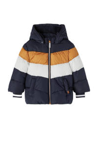NAME IT MINI  winterjas NMMMAY van gerecycled polyester donkerblauw/oker/wit, Donkerblauw/oker/wit