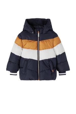 winterjas NMMMAY van gerecycled polyester donkerblauw/oker/wit