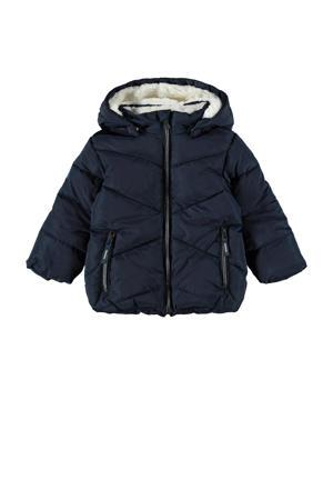 gewatteerde winterjas NMFMAKE van gerecycled polyester donkerblauw