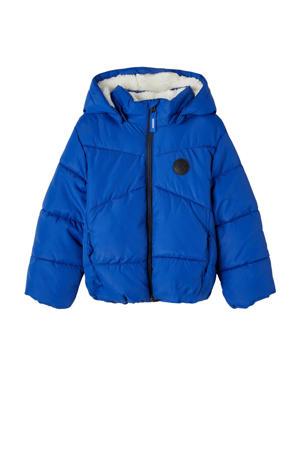 gewatteerde winterjas NMMMAKE van gerecycled polyester blauw
