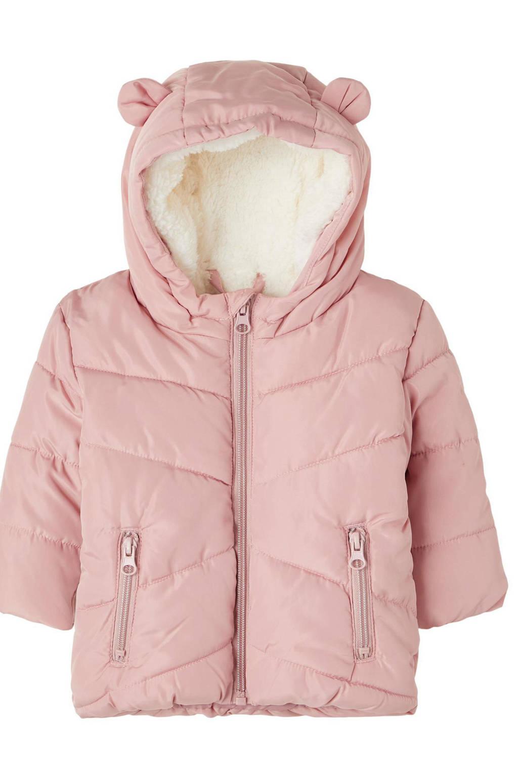 NAME IT BABY baby gewatteerde winterjas NBFMAKE van gerecycled polyester roze, Roze