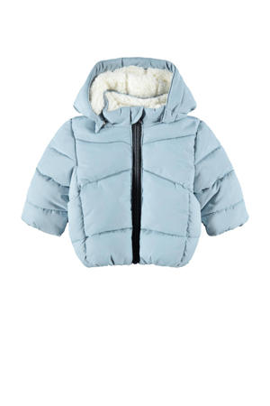 baby gewatteerde winterjas NBMMAKE van gerecycled polyester lichtblauw