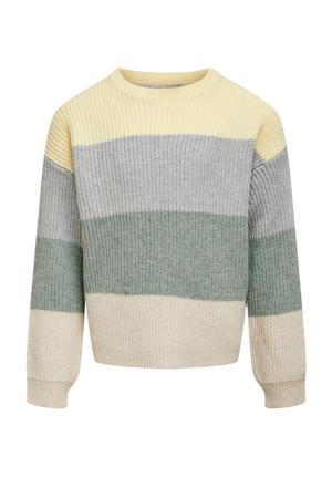 gestreepte trui KONSANDY groen/lichtgeel/lichtblauw