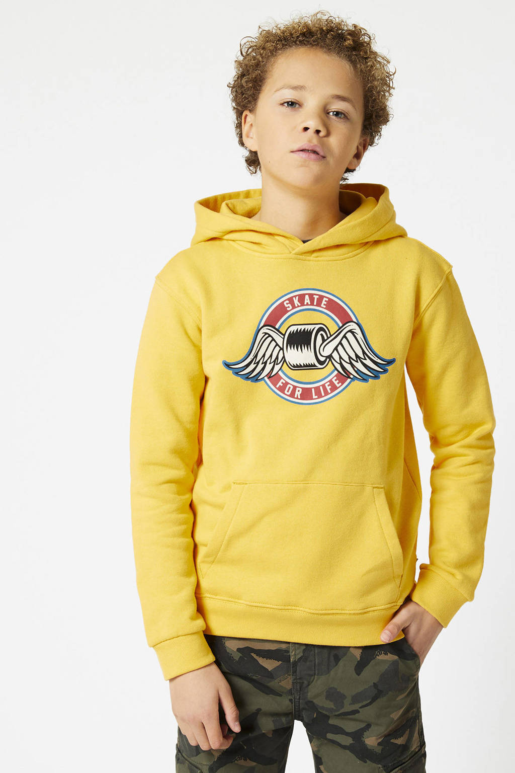 America Today Junior hoodie Shawn met printopdruk geel, Geel