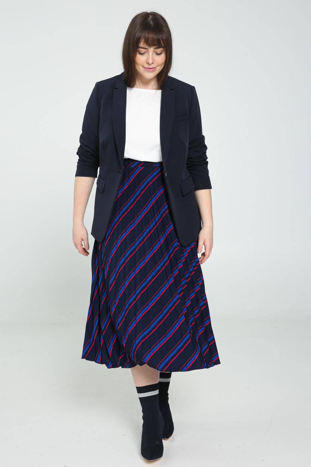 PROMISS gestreepte rok donkerblauw/blauw/rood, Donkerblauw/blauw/rood