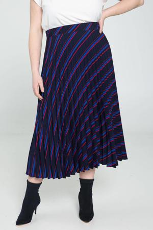 gestreepte rok donkerblauw/blauw/rood