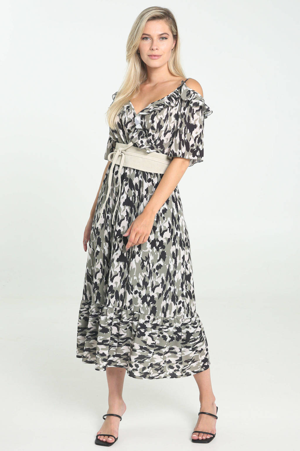 Cassis midi jurk met ruches in camouflage print donkergroen/zwart/grijs