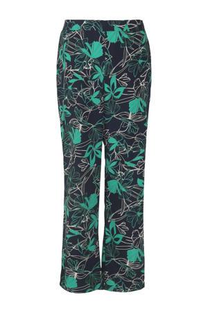 straight fit broek met bladprint marine