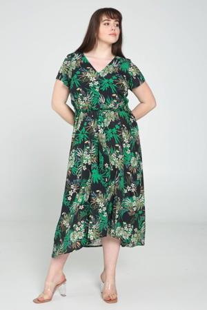 jurk met bladprint donkerblauw/groen/wit