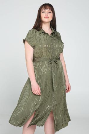 blousejurk met dierenprint olijfgroen