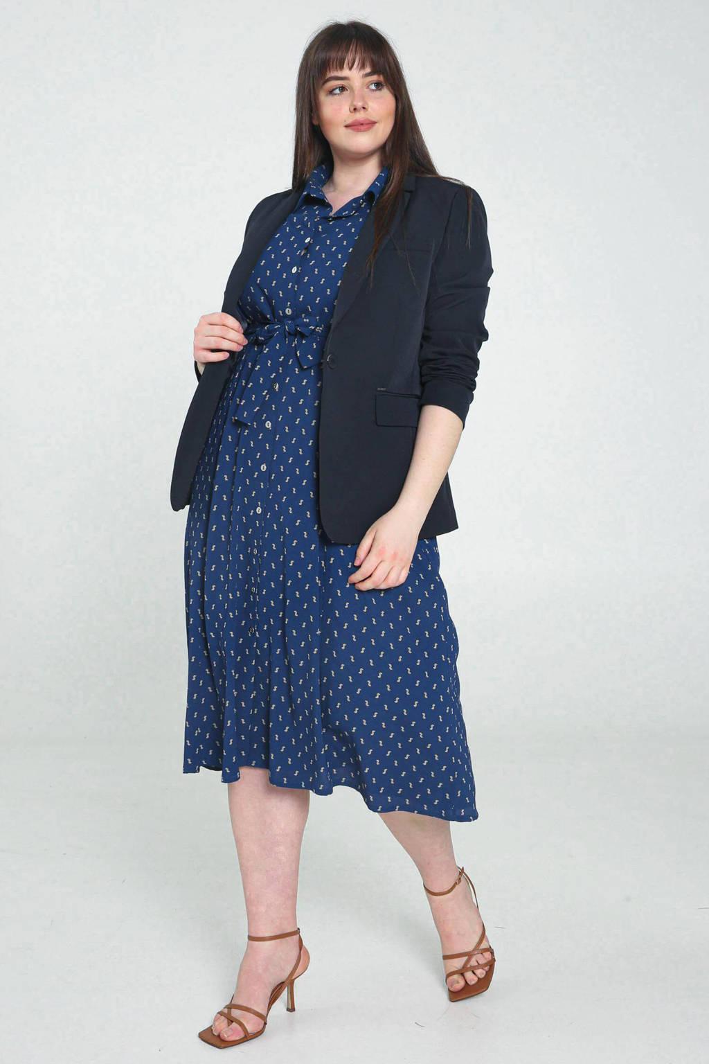 PROMISS mouwloze midi-jurk donkerblauw/geel/wit, Donkerblauw/geel/wit