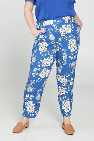 gebloemde straight fit broek blauw/wit/geel