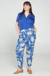 PROMISS gebloemde straight fit broek blauw/wit/geel, Blauw/wit/geel