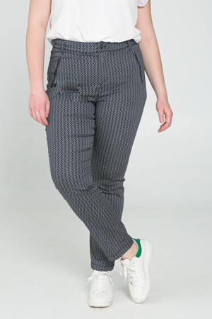 regular fit broek met grafische print marine/ecru