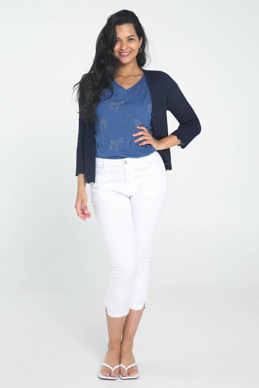 Cassis slim fit capri jeans wit, Wit
