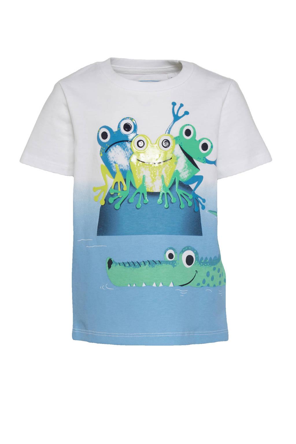 C&A Tough Team T-shirt van biologisch katoen wit/blauw/groen, Wit/blauw/groen