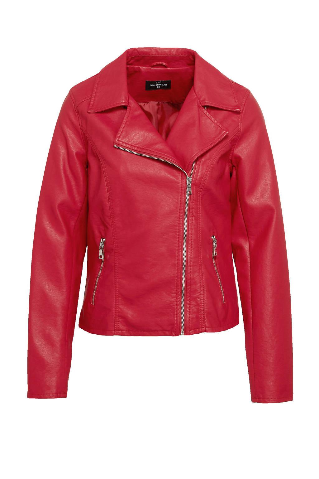 C&A The Outerwear imitatieleren bikerjack rood, Rood