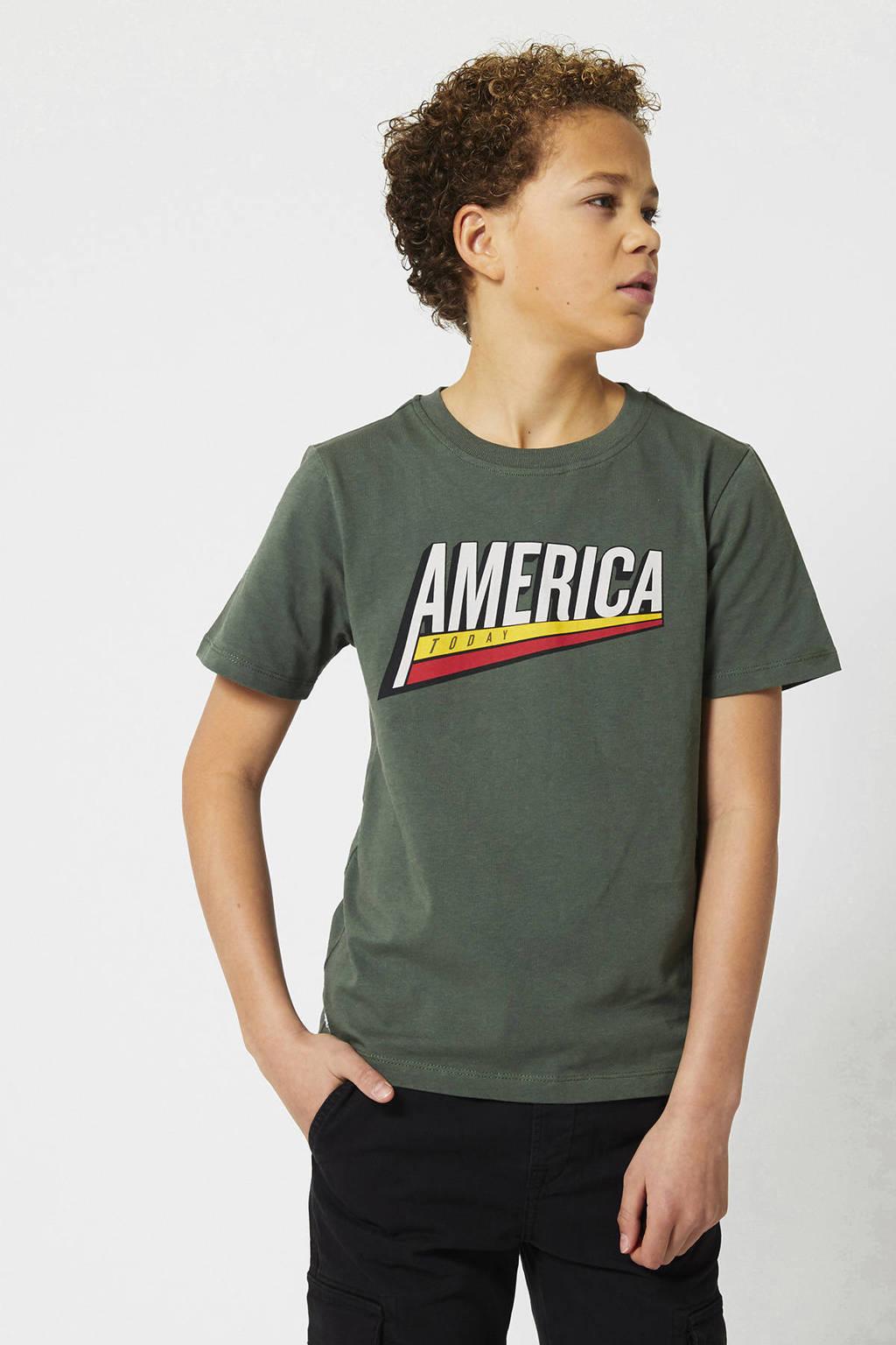 America Today Junior T-shirt met printopdruk legergroen, Legergroen