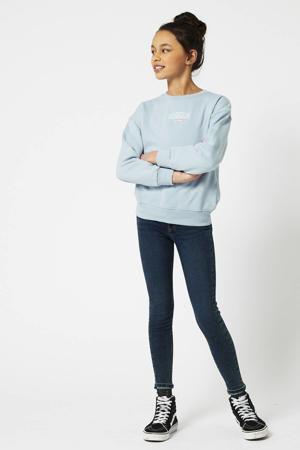 sweater met printopdruk lichtblauw