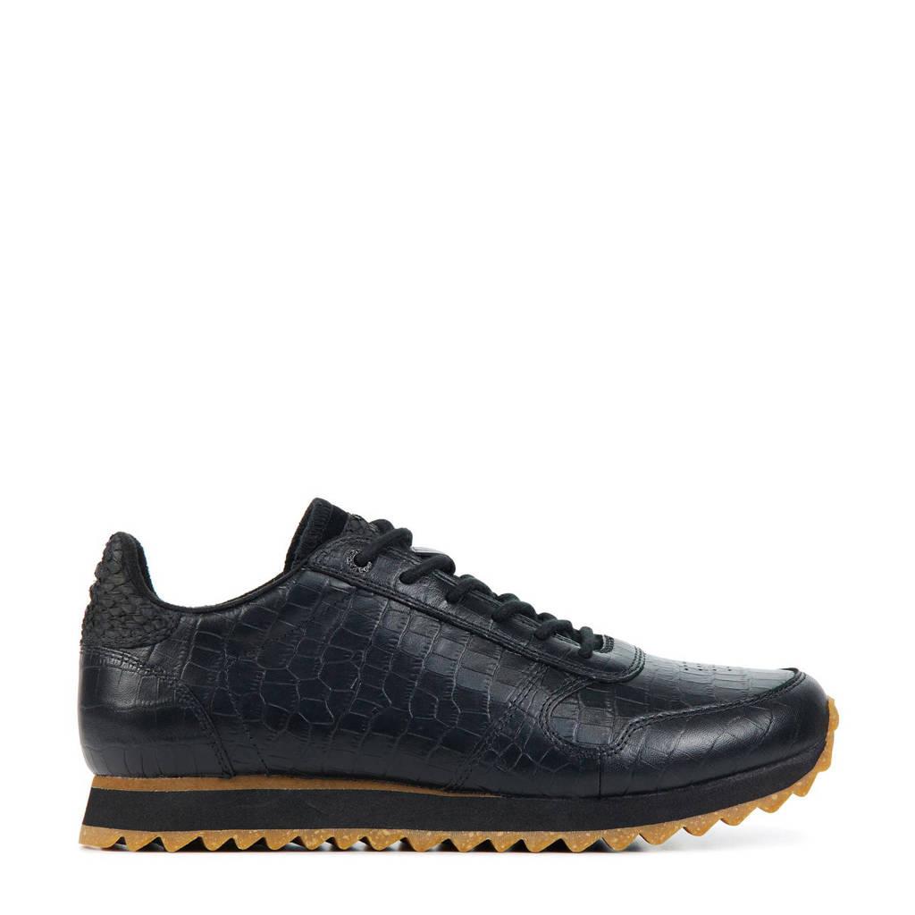 Woden Ydun Croco Shiny  leren sneakers met crocoprint zwart, Zwart