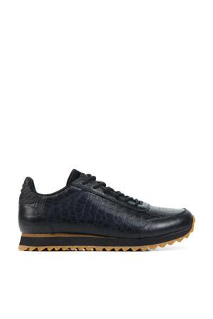 Ydun Croco Shiny  leren sneakers met crocoprint zwart