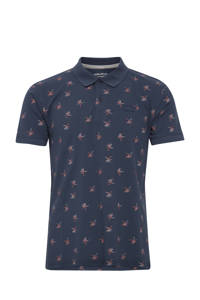 Blend regular fit polo met all over print donkerblauw, Donkerblauw