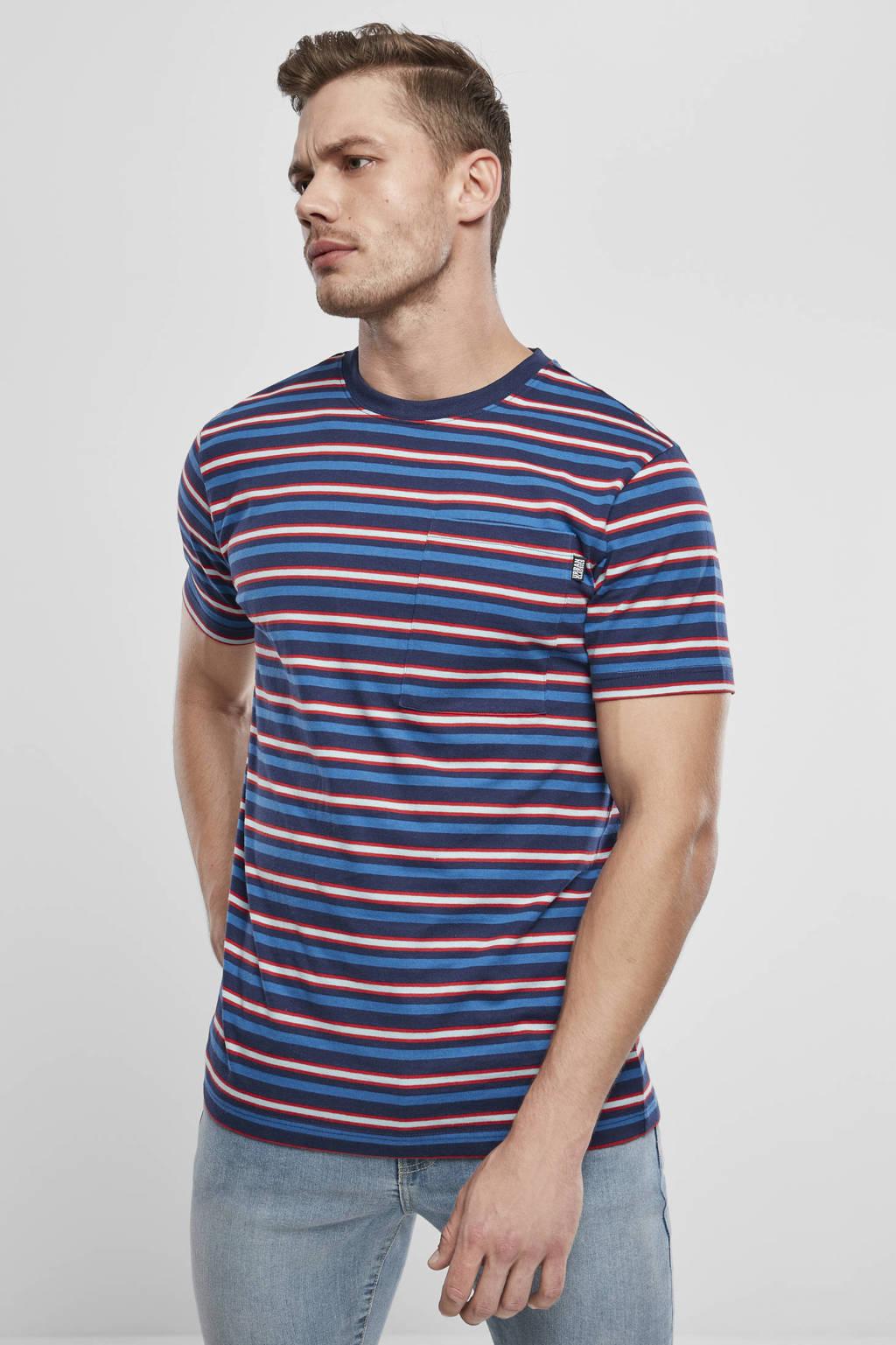 Urban Classics gestreept T-shirt donkerblauw/rood, Donkerblauw/rood