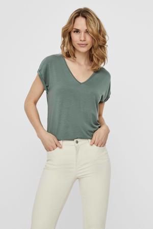 T-shirt VMAVA SS V-NECK TEE VMA NOOS groen