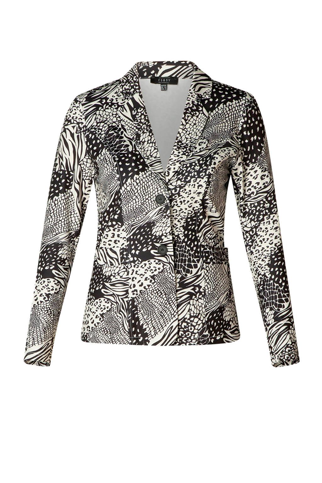 ES&SY blazer Tara met all over print zwart/wit, Zwart/wit