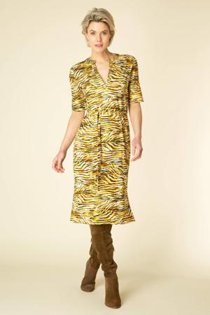 jurk Tyske met zebraprint geel/wit/bruin