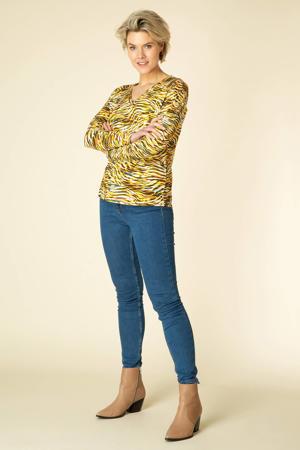 top Theresa met zebraprint geel/wit/bruin