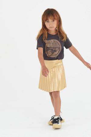 imitatieleren plissé rok Lotis goud