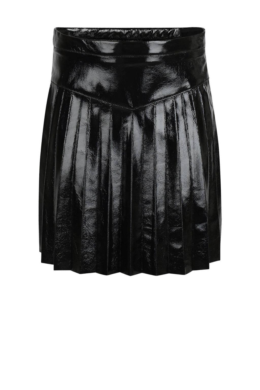 Shoeby Jill & Mitch imitatieleren plissé rok Leana zwart, Zwart