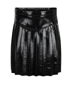 imitatieleren plissé rok Leana zwart