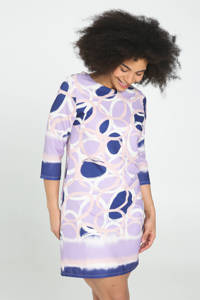 Cassis A-lijn jurk met grafische print violet, Violet