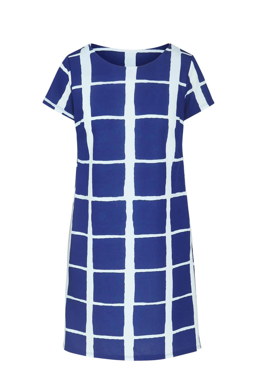 Cassis geruite A-lijn jurk blauw/wit, Blauw/wit