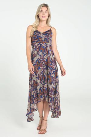 jurk met all over print en plooien blauw/oranje/ecru