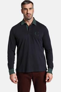Charles Colby oversized polo DUKE BLAKE Plus Size met logo donkerblauw, Donkerblauw