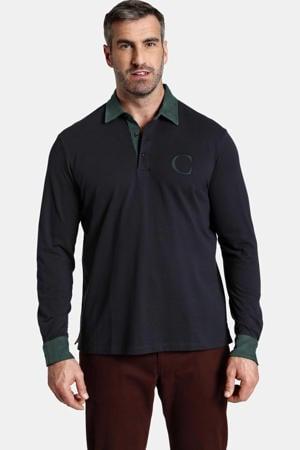 oversized polo DUKE BLAKE Plus Size met logo donkerblauw