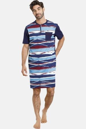Plus Size slaapshirt Ture met all over print blauw/donkerblauw
