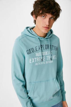 hoodie met printopdruk groen/blauw