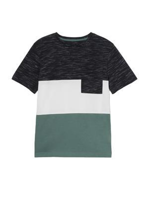 T-shirt donkerblauw/wit/groen