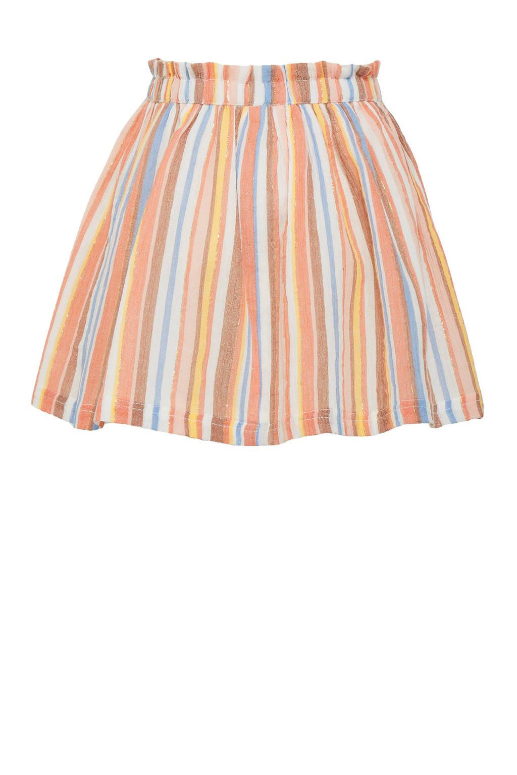C&A Happy girls Club gestreepte rok oranje/blauw/geel, Oranje/blauw/geel