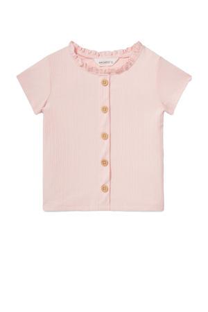 T-shirt met ruches roze