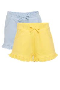 C&A Baby Club short - set van 2 lichtblauw/lichtgeel, Geel/lichtblauw