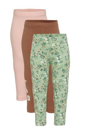 legging - set van 3 bruin/zalm/groen