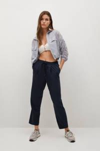 Mango cropped high waist straight fit broek zwart, Marine