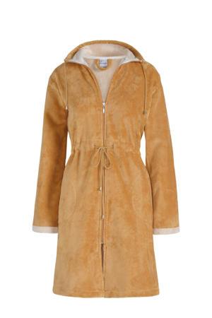 fleece badjas Chicago met ritssluiting okergeel