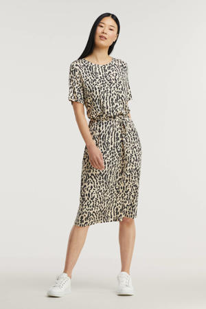 jurk OBJMONI met all over print en ceintuur beige/zwart