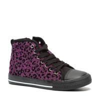 Scapino Blue Box   hoge sneakers met panterprint paars/zwart, Paars/zwart